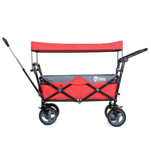 Sekey キャリーカート ワゴン 折り畳み式 耐荷重100kg 幌付き アウトドア 室内 多用途 組み立て不要 1年保証 2色合わせ 赤い|sekey-online