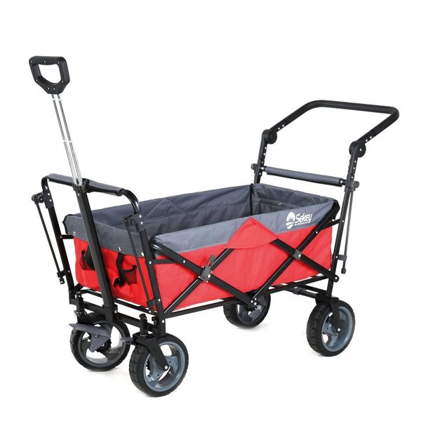 Sekey キャリーカート ワゴン 折り畳み式 耐荷重100kg 幌付き アウトドア 室内 多用途 組み立て不要 1年保証 2色合わせ 赤い|sekey-online|06