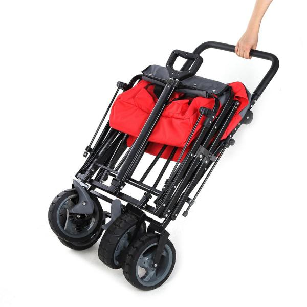 Sekey キャリーカート ワゴン 折り畳み式 耐荷重100kg 幌付き アウトドア 室内 多用途 組み立て不要 1年保証 2色合わせ 赤い|sekey-online|08