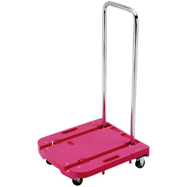 即日出荷 山善 YAMAZEN 自立式折りたたみ台車 Carryおてがる OTG-E50 ローズピンク キャリーカート