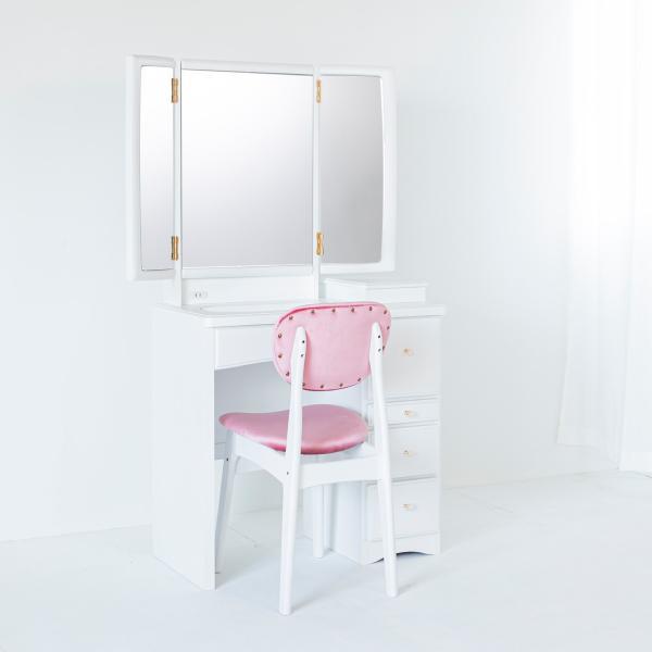<title>ドレッサー半三面鏡 フェアリーテール パールホワイト 25%OFF 椅子付き選べるハンドル3種類</title>