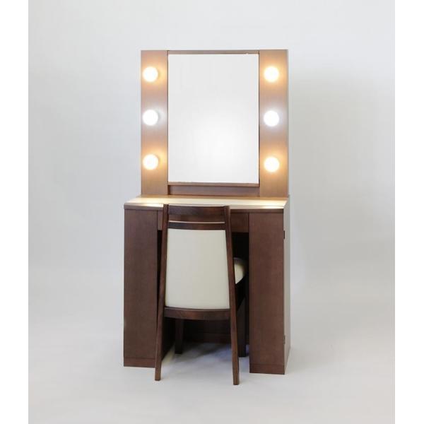 <title>SALENEW大人気! ドレッサー 一面鏡 アイドル 椅子付き女優ミラー ウォールナット色 LEDライト</title>