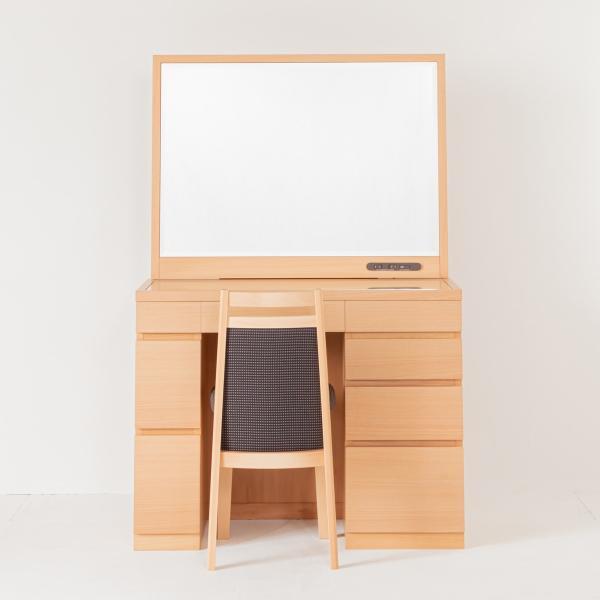 『1年保証』 レント 今だけ限定15%OFFクーポン発行中 ナチュラル色 一面鏡95cmワイドミラーデスクホテルドレッサー椅子付き