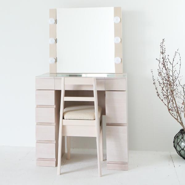 国産品 クリスタルSofia女優ミラー 予約販売品 ミルキーホワイト 一面鏡ハリウッドミラー LEDドレッサー椅子付き