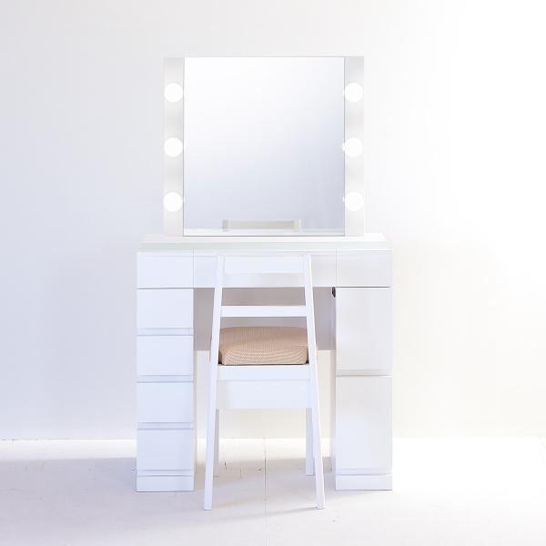 <title>クリスタルSofia女優ミラー パールホワイト 与え 一面鏡ハリウッドミラー LEDドレッサー椅子付き</title>