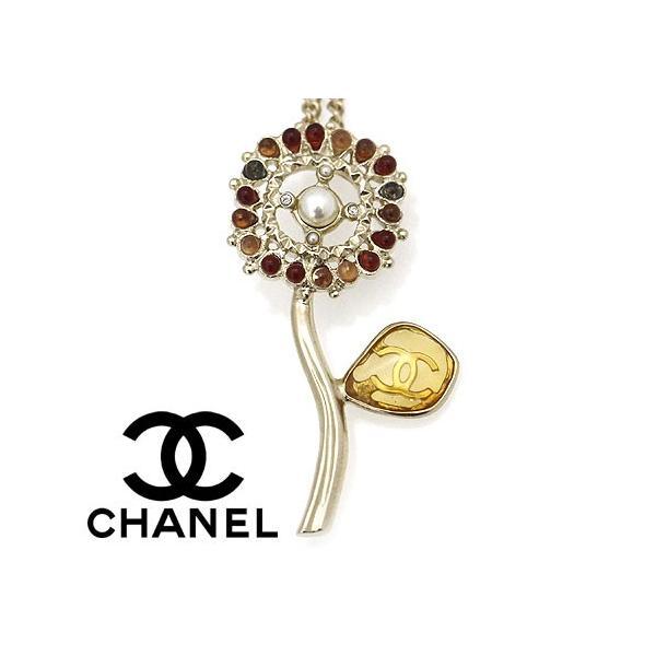 CHANEL シャネル AB0191 GOLD アクセサリー ネックレス ペンダント CCココマーク パール ラインストーン フラワー 花 ゴールド×マルチ