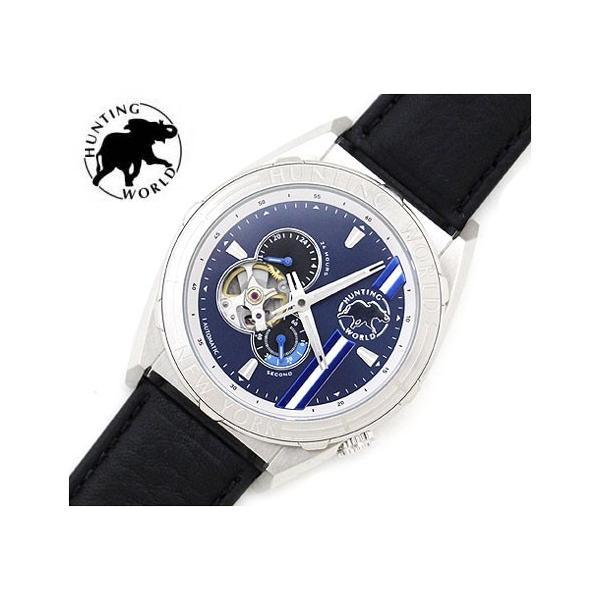 HUNTINGWORLDハンティングワールドHW994SBLメンズ腕時計レザーブラック自動巻オートマチックアナログ
