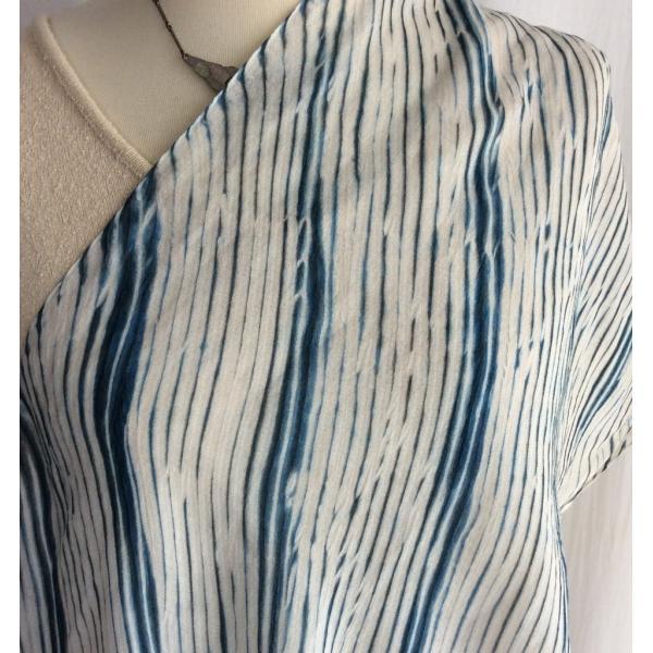 竹布ガーゼストール170cm /藍染めの嵐絞り / ジェンダーレス sekkasibori 03