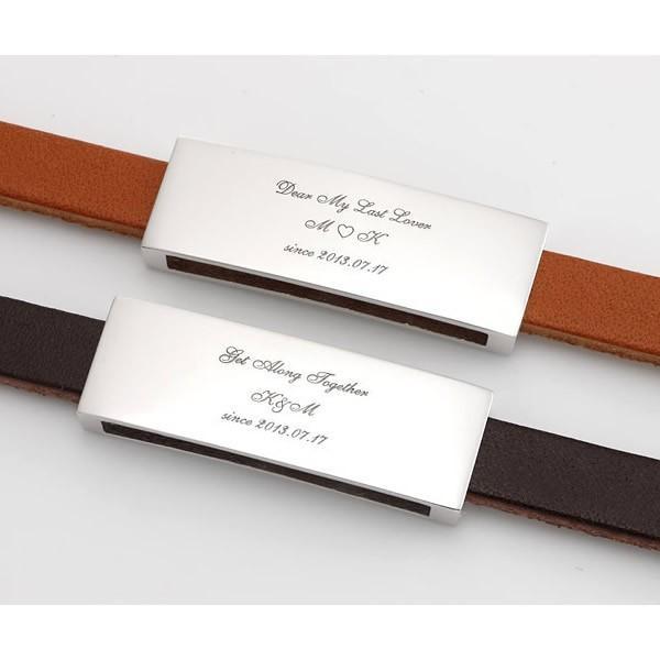ペアブレスレット シルバー カップル メンズ レディース 人気 セミオーダーメイド 刻印 レザー シンプル/003B-K(SU)|select-alei|05