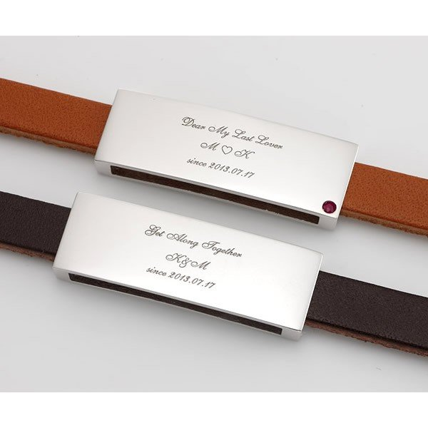 ペアブレスレット シルバー カップル メンズ レディース 人気 セミオーダーメイド 刻印 誕生石 レザー シンプル/003B-KS(SU)|select-alei|02