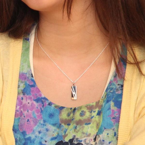ペアネックレス シルバー セミオーダーメイド 刻印 誕生石 シンプル/012N-KS(OP)|select-alei|04