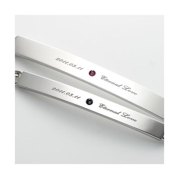 ペアブレスレット シルバー カップル メンズ レディース 人気 セミオーダーメイド 刻印 誕生石 シンプル/002B-KS(hub)|select-alei|03