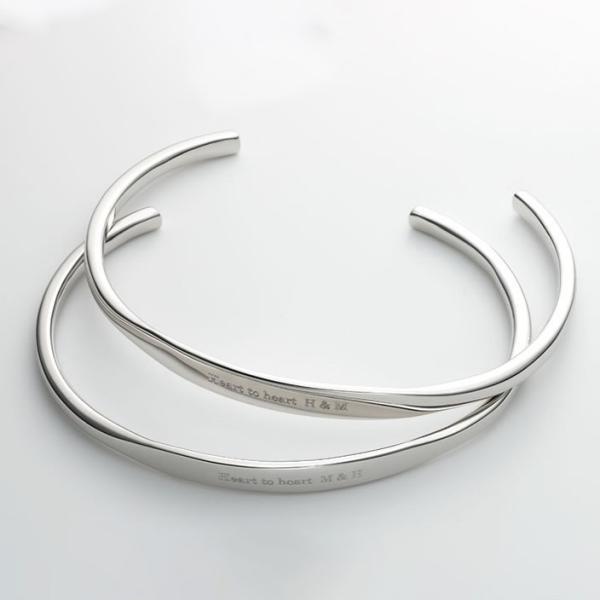 ペアバングル カップル メンズ レディース シルバー 人気 セミオーダーメイド 刻印 シンプル ブレスレット/001BG-K(SU)|select-alei|02
