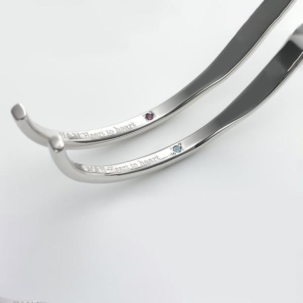 ペアバングル シルバー セミオーダーメイド 刻印 誕生石 シンプル ブレスレット/001BG-KS(OP)|select-alei|03