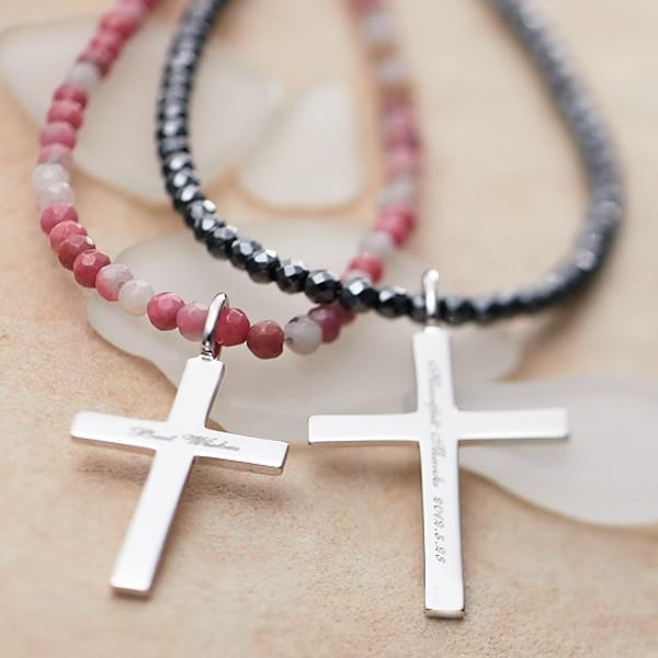 ペアネックレス シルバー セミオーダーメイド 刻印 天然石 クロス 十字架/007N-K(OP)|select-alei