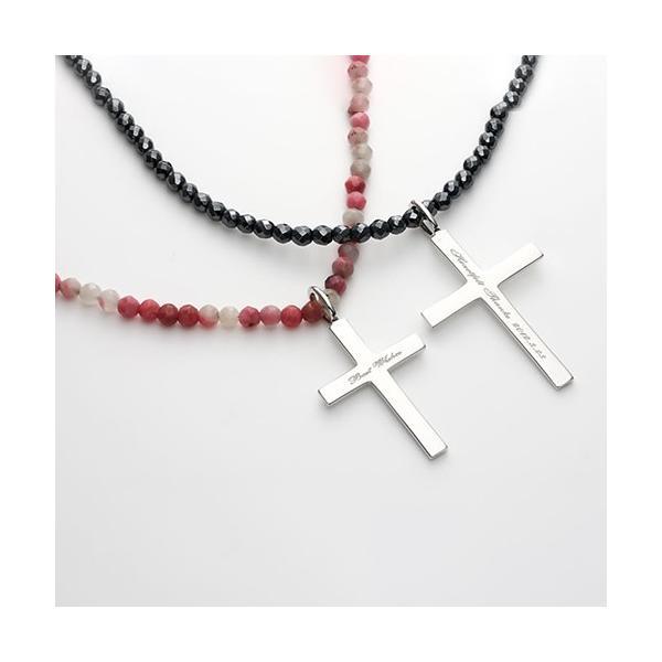 ペアネックレス カップル セット シルバー 人気  セミオーダーメイド 刻印 天然石 クロス 十字架/007N-K(OP)|select-alei|02