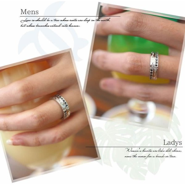 ハワイアンジュエリー ペアリング 指輪 シルバー925 AquaBelle LOVERS CLR-X-BCZ ブラックキュービック レディース スクロール 波 彼氏 彼女 誕生日 結婚記念日|select-alei|12