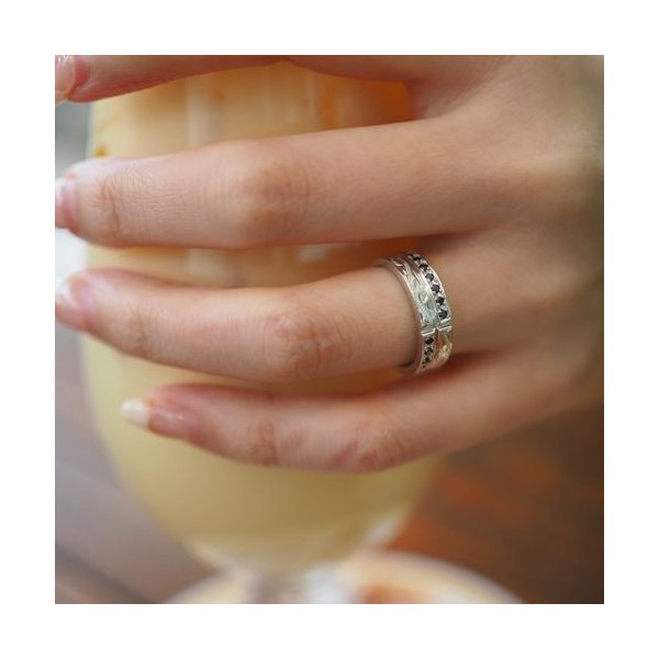 ハワイアンジュエリー ペアリング 指輪 シルバー925 AquaBelle LOVERS CLR-X-BCZ ブラックキュービック レディース スクロール 波 彼氏 彼女 誕生日 結婚記念日|select-alei|06