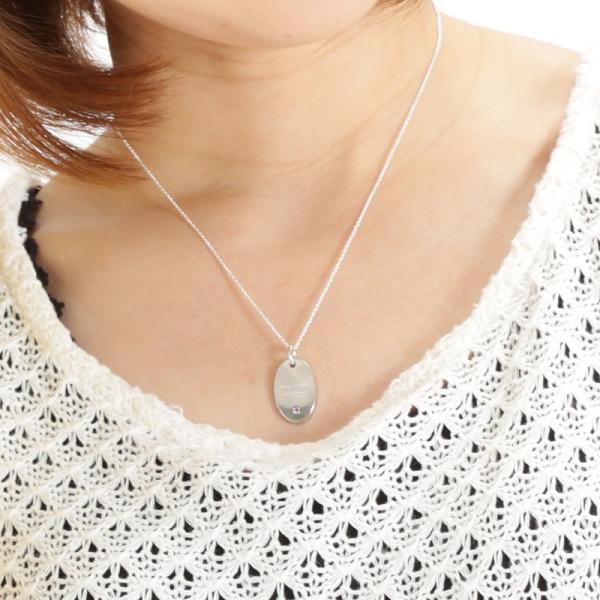 ペアネックレス シルバー セミオーダーメイド 刻印 誕生石 シンプル プレート タグ/002N-KS(OP)|select-alei|04