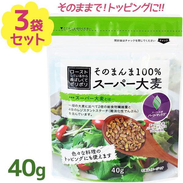 そのまんま100% スーパー大麦 バーリーマックス ロースト 40g×3個セット スーパーフード ふりかけ おやつ スープ サラダ トッピング 低糖質 食物繊維 栄養管理