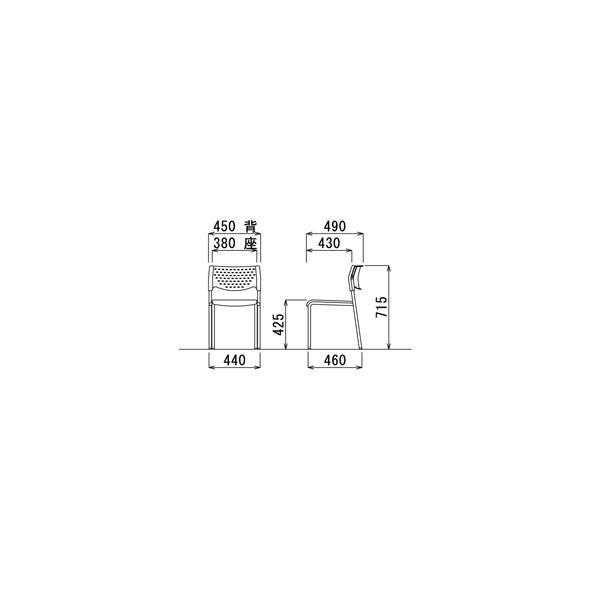 4脚セット スタッキングチェア MC-211Wクロームメッキタイプ 素材・カラー選べます オフィス家具 会議 チェア/椅子ホワイトシェル仕様  送料無料|select-office|03