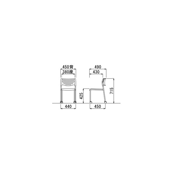 4脚セット スタッキングチェア粉体塗装タイプ 素材・カラー選べます オフィス家具 会議 チェア/椅子グレーシェル仕様/キャスター付き  送料無料|select-office|03