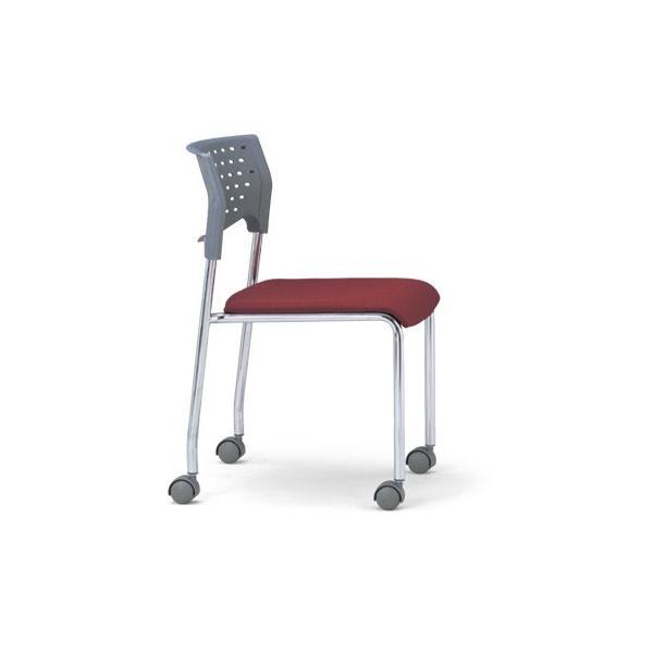 4脚セット スタッキングチェア MC-231Gクロームメッキタイプ 素材・カラー選べます オフィス家具 会議 チェア/椅子グレーシェル仕様/キャスター付き  送料無料|select-office