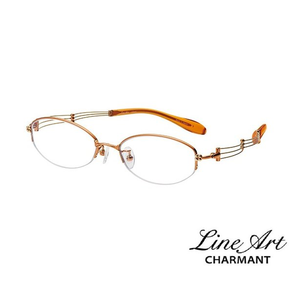 ラインアート シャルマン Line Art メガネ フレーム XL1008 トリオコレクション カラー OR オレンジ サイズ 51 伊達 眼鏡 形状記憶 女性用 国内正規品