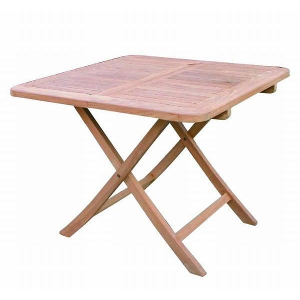 チーク 折り畳みスクエアテーブルB 無垢 テーブル 家具 チーク材 おしゃれ 折りたたみ コンパクト 木 高さ70 激安 ベランダ ナチュラル 完成品 正方形 幅90cm