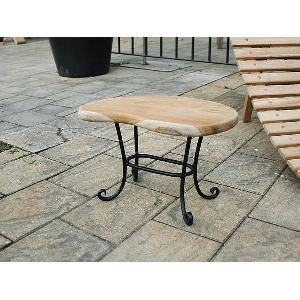 ミニマンゴーテーブル 無垢 テーブル 家具 チーク材 おしゃれ コンパクト ロー ローテーブル 円形 激安 ベランダ ナチュラル 完成品 アイアン 猫脚 猫足 楕円