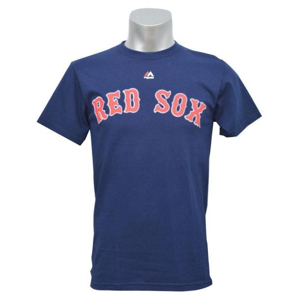 MLB レッドソックス ダスティン・ペドロイア Tシャツ ネイビー マジェスティック Player Tシャツ|selection-j|02