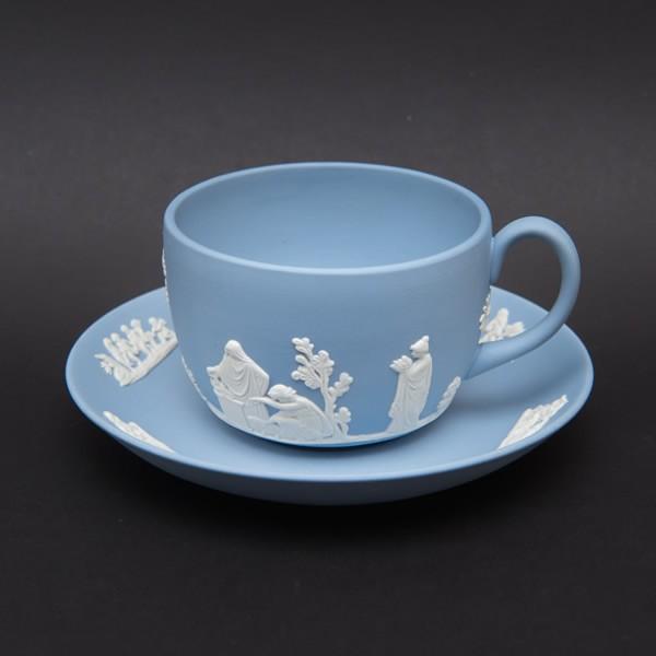 ウェッジウッド ジャスパー ティーカップ&ソーサー(ペールブルー)|selectors