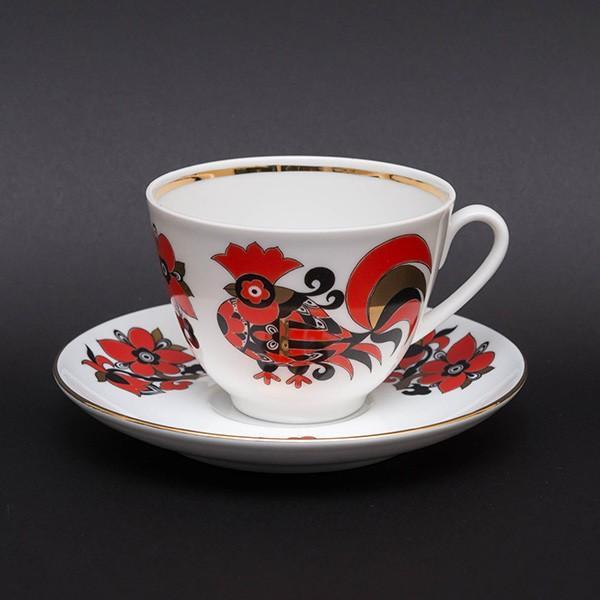 インペリアル・ポーセリン(ロモノーソフ) ニワトリ柄コーヒーカップ&ソーサー|selectors