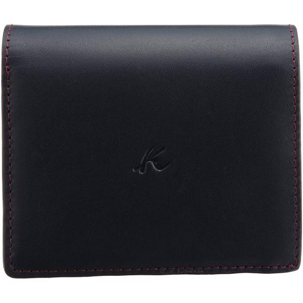 キタムラ 財布二折財布ZH0128ダークブルー/ワインステッチ 紺 10711