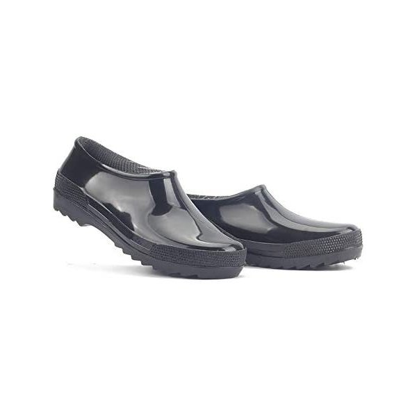 WODESEA メンズレインシューズ無地梅雨雨靴無地快適防水耐滑通勤通学アウトドア(26.5,ブラック)
