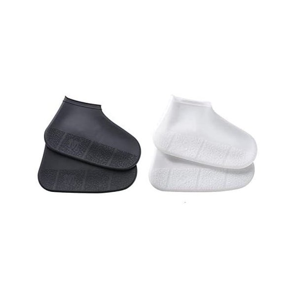 Sweetimes 黒+白2足セットレインシューズカバーシリコン防水雨の日靴カバー携帯便利靴の保護急な雨・雪でも安心2色セット