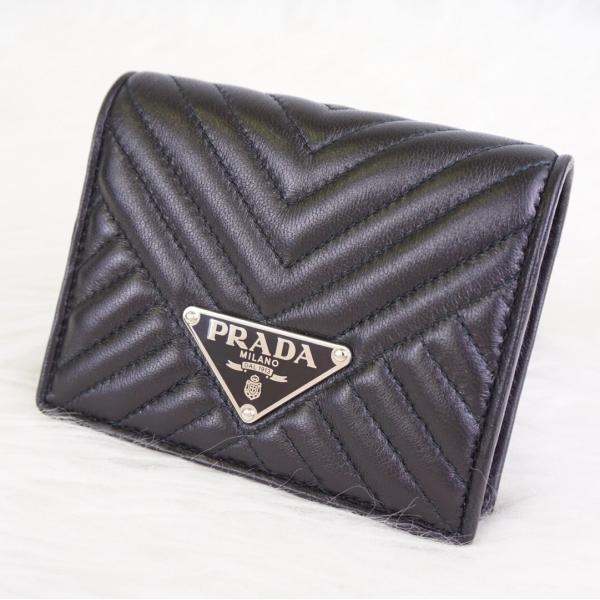 92e4772de028 ... プラダ PRADA 二つ折り 財布 折りたたみ財布 NAPPA ミニ財布 使いやすい コンパクト財布 黒 ブラック ...