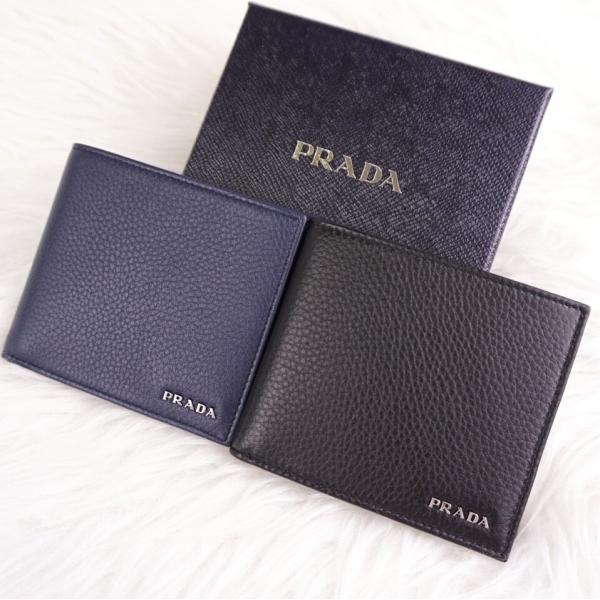 competitive price dcc25 b3e4d プラダ PRADA メンズ 二つ折り財布 VITELLO GRAIN 折りたたみ コンパクト財布 2MO738 2M0738 ブラック ネイビー  NERO BALTICO
