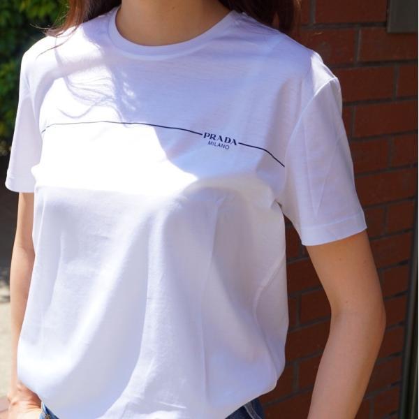 プラダ PRADA Tシャツ クルーネック コットン レディース BLU ブルー 青 BIANCO ホワイト 白 NERO ブラック 黒 トップス|selectshopfelice|06