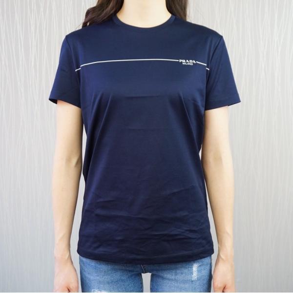 プラダ PRADA Tシャツ クルーネック コットン レディース BLU ブルー 青 BIANCO ホワイト 白 NERO ブラック 黒 トップス|selectshopfelice|08