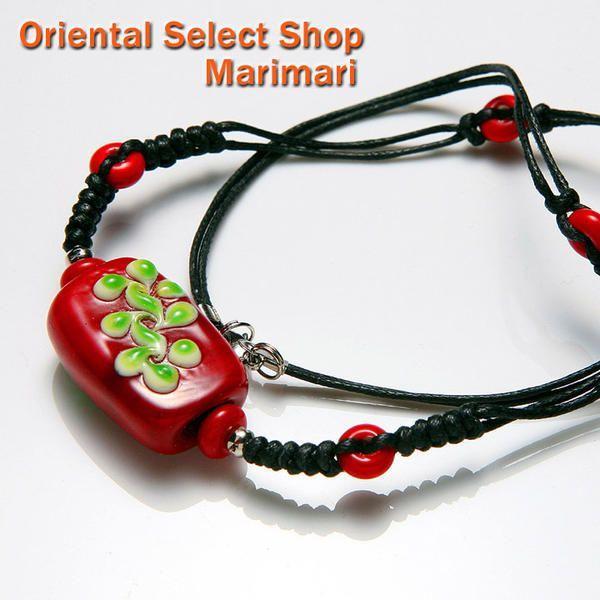 パイワン族 瑠璃玉チョーカーわらび餅みたいな瑠璃玉・ハイビスカスのような配色まるでハワイにいる気分 猩々緋赤色