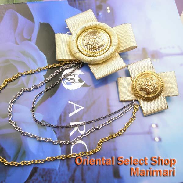 大小クロスチャームブローチ使い方は自由クロス型に王冠マークゴールド・3色のチェーンで連結ゴールド×シルバー×ガンメタル選べる2色展開