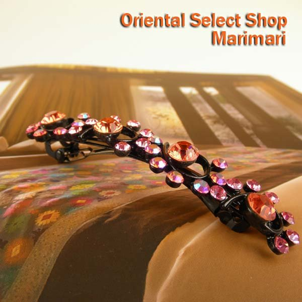 プリティーゴージャス ヘアバレッタウェーブ型のスワロがキラキラピンク×レッド・ブラック色台キュートな配色で魅了しちゃおう選べる2色展開
