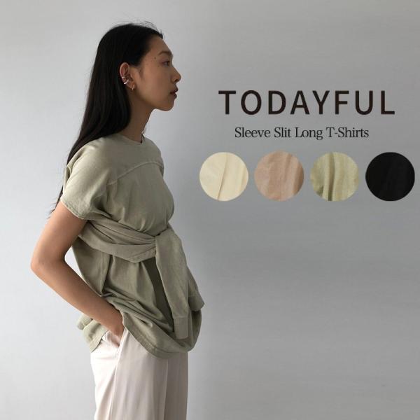 TODAYFUL 20春夏 トゥデイフル Sleeve Slit Long T-Shirts スリーブスリットロングTシャツ 12010614( 3月中旬入荷予約) (代金引換不可)|selectshopmu