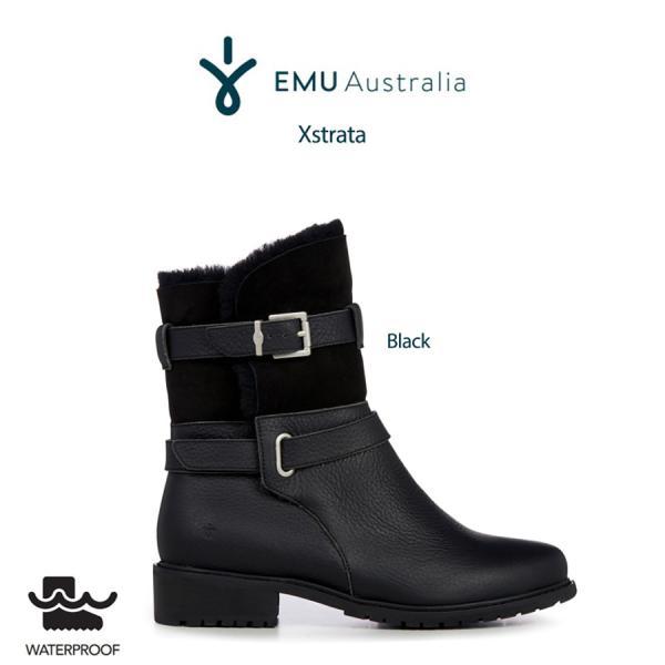 EMU エミュー Australia 通販 Xstrata エクストラーター ムートンバイカーブーツ w12321 ブラック 23cm 24cm 25cm (日本正規販売店)