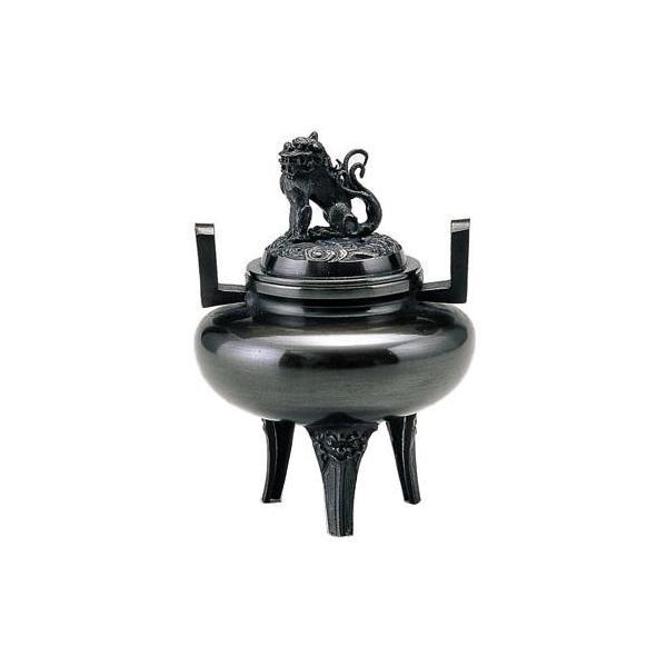 高岡銅器 香炉 平丸獅子蓋 古手色 131-05