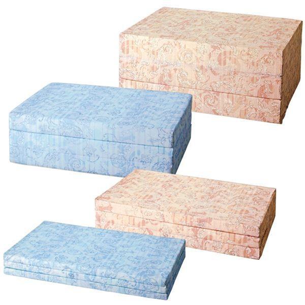 バランスマットレス/三つ折りマットレス 〔ベージュ/ダブルサイズ 厚さ14cm〕 ベッド用/布団用