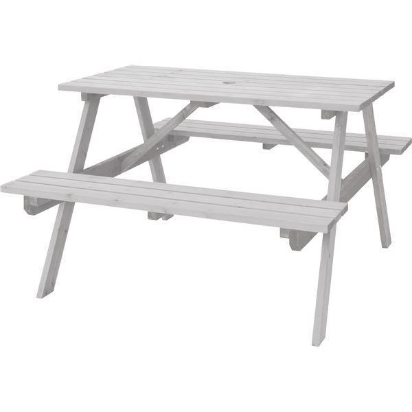 屋外用 テーブル&ベンチ 〔ホワイト〕 幅120cm×奥行135cm×高さ75.5cm×座面高45cm 木製 パラソル可 〔レジャー〕 〔組立品〕