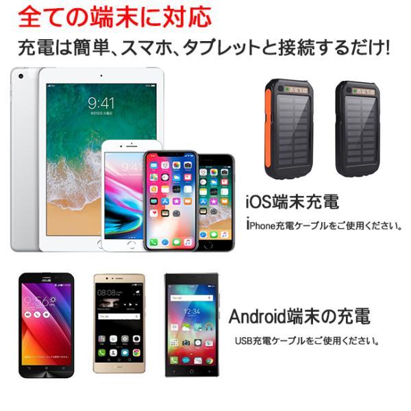 モバイルバッテリー ソーラーモバイルバッテリー 12000mAh 大容量 スマホ充電器 2台同時充電 急速充電 ソーラー 充電器 iPhone android|selectshoptoitoitoi|13