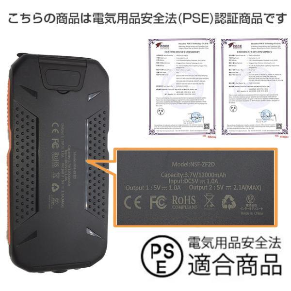 モバイルバッテリー ソーラーモバイルバッテリー 12000mAh 大容量 スマホ充電器 2台同時充電 急速充電 ソーラー 充電器 iPhone android|selectshoptoitoitoi|17